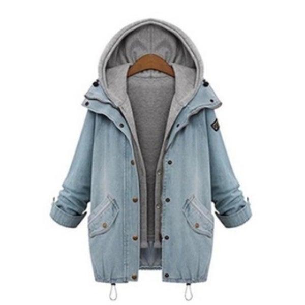 Plus Size Winter Women Warm Collar Hooded Coat