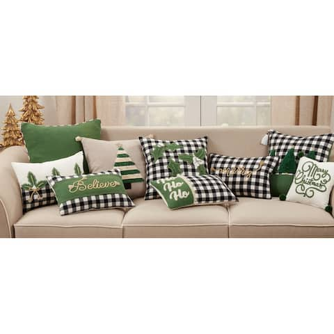 Pillow With Buffalo Plaid Holly Design