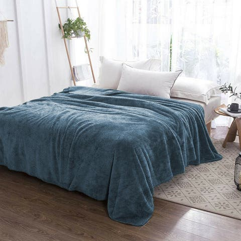 Soft Faux Fur Fleece Reversible Blanket Throw Blue