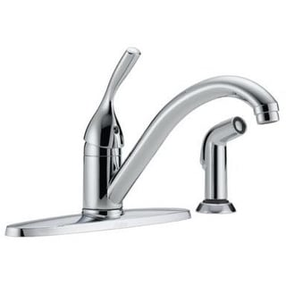 Delta 400-DST Single Handle Kitchen Faucet With Spray, Chrome
