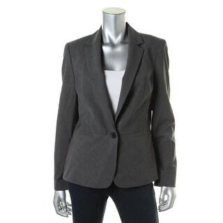 Anne Klein Womens Wool Blend Heathered One-Button Blazer