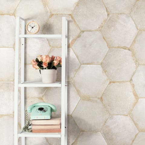 """SomerTile D'Anticatto Hex Bianco 11"""" x 12.63"""" Porcelain Floor and Wall Tile"""