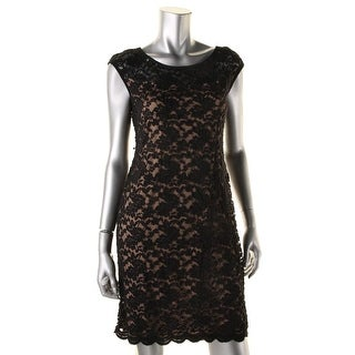 Connected Apparel Womens Illusion Lace Cocktail Dress