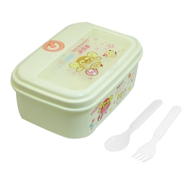 Unique Bargains Unique Bargains Portable Plastic Cartoon Animals Print Lunch Breakfast Carrying Box Beige