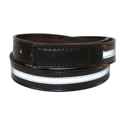 Boston Leather Men's Leather Covered Buckle Belt with Reflective Safety Stripe