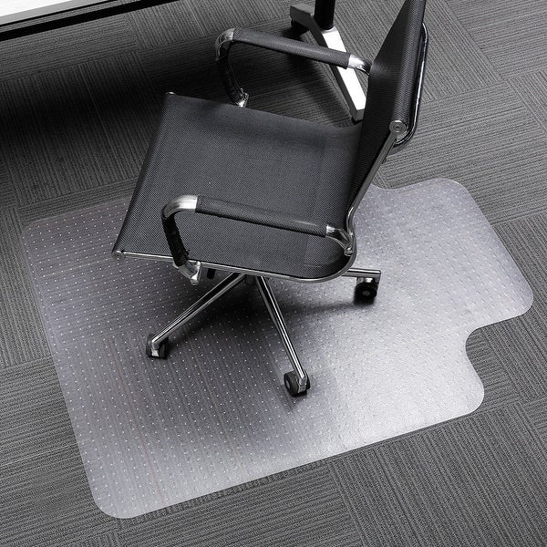 "SLYPNOS 48"" x 36"" Translucent Office Chair Mat Carpet Protector with Lip and Non-Slip Studded Backing"