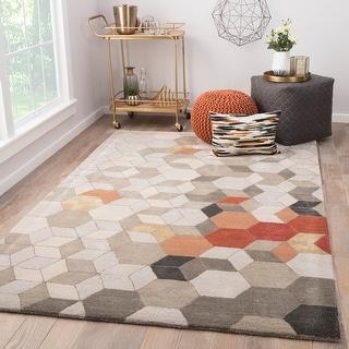 Link to Duras Handmade Geometric Light Grey/ Orange Area Rug Similar Items in Rugs