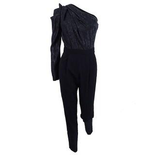 Michael Kors Women's Cropped One-Shoulder Shimmer Jumpsuit - Black