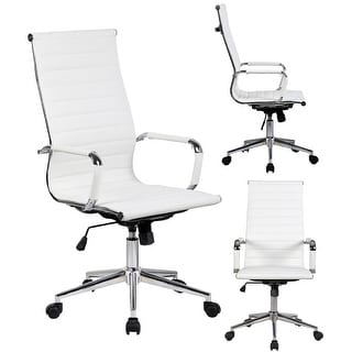 2xhome White Executive Ergonomic High Back Modern Office Chair Ribbed PU  Leather Swivel For Manager Conference