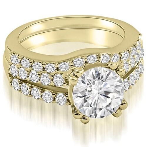 1.30 cttw. 14K Yellow Gold Cathedral Split Shank Round Cut Diamond Bridal Set
