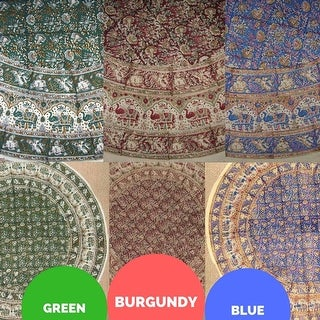 """Handmade Hand Block Print Tablecloth 100% Cotton 72"""" Round Available in three colors - Burgundy & Green & Blue"""