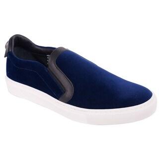 Versace Collection Navy Blue Velvet Slip On Sneakers