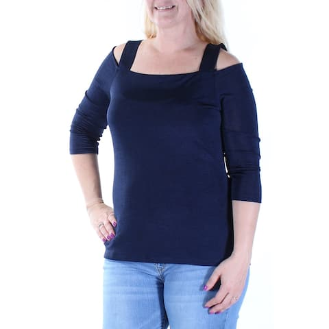 INC Womens Navy Cut Out 3/4 Sleeve Square Neck Top Size: L