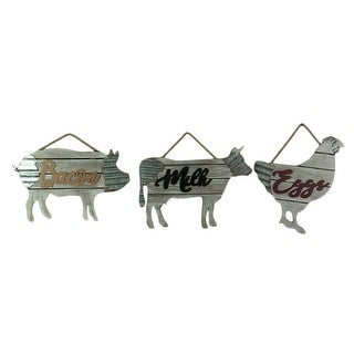 Set of 3 Farmhouse Animal Wood Wall Plaques Galvanized Metal Accents