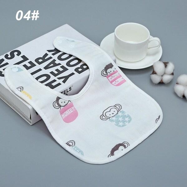 Baby Bib Cute Washable Cotton U-Shaped Bib Toddler Absorbent Soft Bib Gauze Saliva Gift