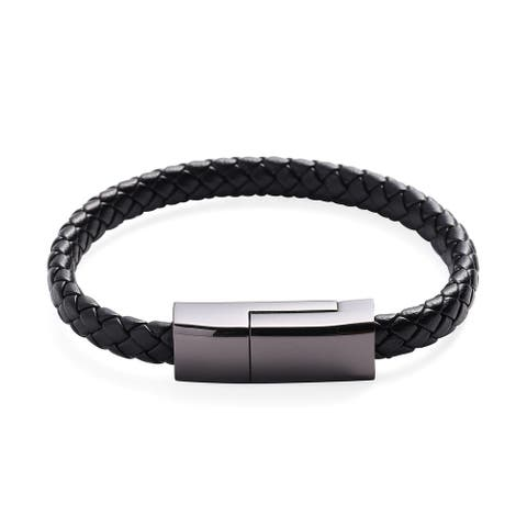 Pu Leather Gold Plating Silvertone Elegant Bracelet Size 8 Inches - Bracelet 8''