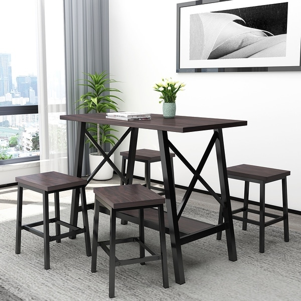 5-Piece Bar Table Set, Counter Height Bar Table with 4 Bar Stools. Opens flyout.