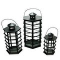"Set of 3 Black Modern Design Glass Pillar Candle Lanterns 10.5"" - 18.5"" - Thumbnail 0"