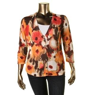 Jones New York Womens Printed Cardigan Sweater - XL