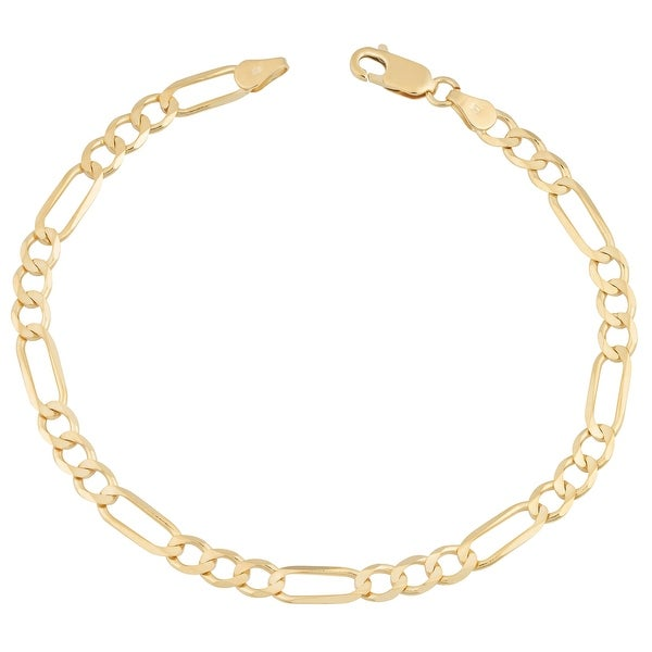 MCS Jewelry Inc 14 KARAT YELLOW GOLD SOLID FIGARO ANKLET BRACELET (10 INCHES)