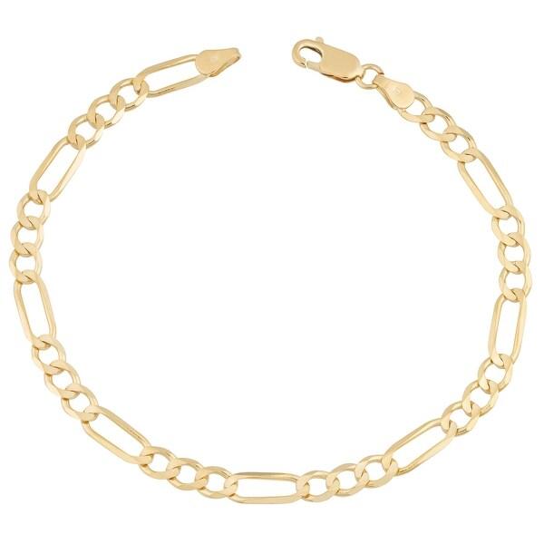 Mcs Jewelry Inc 14 KARAT YELLOW GOLD SOLID FIGARO CHAIN BRACELET (3.1MM)