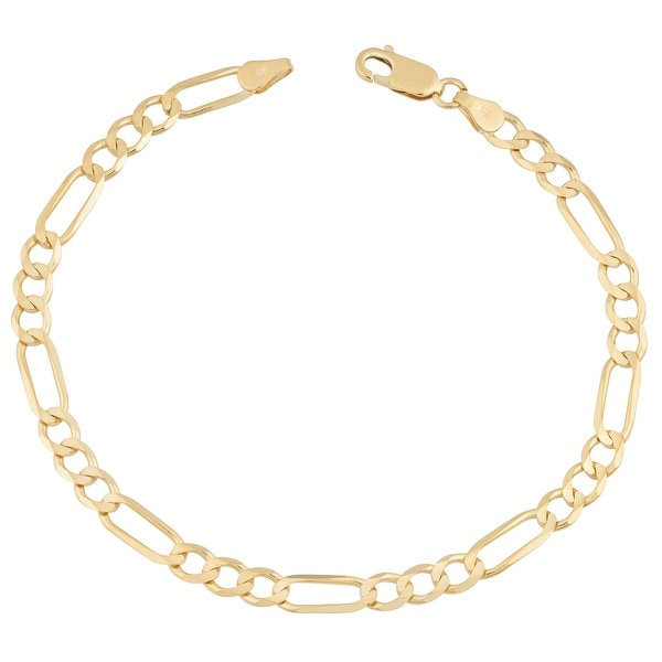 Mcs Jewelry Inc 14 KARAT YELLOW GOLD LIGHTWEIGHT FIGARO LINK BRACELET 4.6MM (7 INCHES)