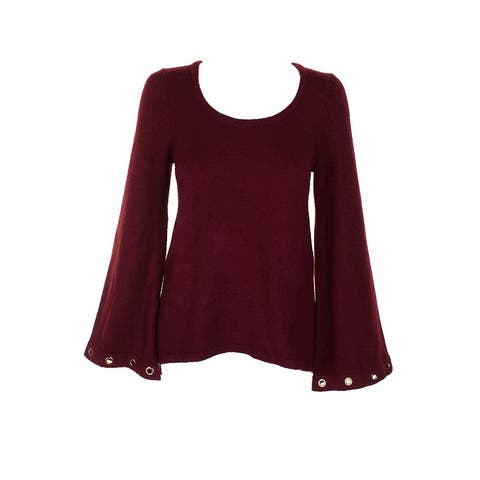 Kensie Burgundy Grommet-Sleeve Scoop Neck Sweater XS