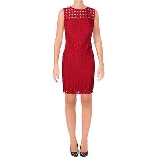 Lauren Ralph Lauren Womens Melia Casual Dress Mesh Embroider Dots