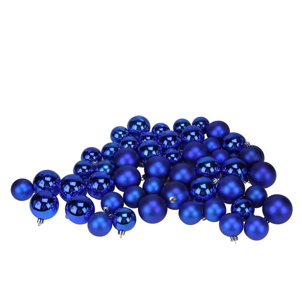 "150ct Shatterproof Lavish Blue Shiny & Matte Christmas Ball Ornaments 1.5""-2"""