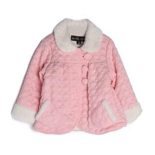 Isobella & Chloe Baby Girls Pink Cotton Fur Cuffs Collar Button Jacket 24M