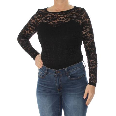 c6b03dd13c MATERIAL GIRL Womens Black Illusion Lace Long Sleeve Jewel Neck Body Suit  Top Size: L