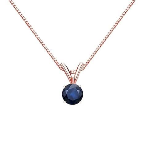 Auriya 14k Gold Blue Sapphire Solitaire Necklace 1/4ctw