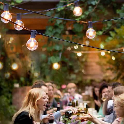 7.65m 25LED Light String Lights Outdoor Hanging Lights for Garden Pergola Decks Cafe Market with 25 Bulbs - 301 inch length