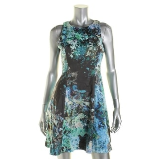 Adrianna Papell Womens Petites Embellished Printed Cocktail Dress