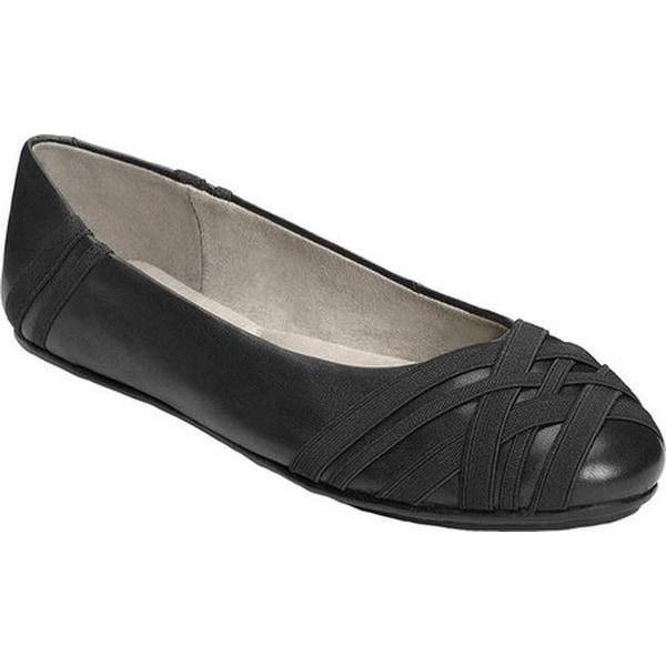 1413bd36b7e Shop Aerosoles Women s Saturn Ballet Flat Black Leather Elastic ...