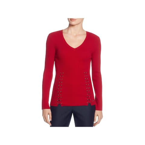 T Tahari Womens Pullover Sweater Lace-Up Ribbed
