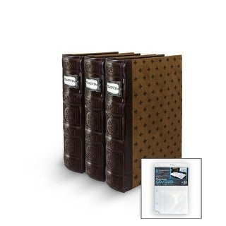 Bellagio-Italia DVD/CD Storage Tuscany Chestnut Binder 3-Pack with Insert Sheets