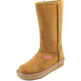 Skechers Girl Bow Glow Youth Round Toe Synthetic Tan Winter Boot
