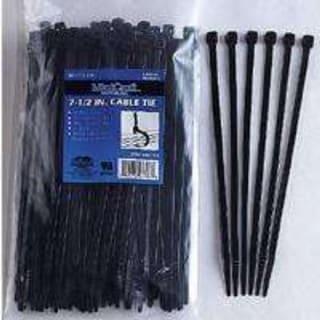 "Mintcraft CV190W-1003L Nylon Cable Ties, Black, 3/16"" x 7.5"", 50 Lb, 100-Piece"
