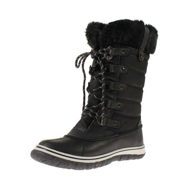 edfb8f24b3a Shop Steve Madden Womens Slushee Snow Boots Faux Leather Faux Fur ...
