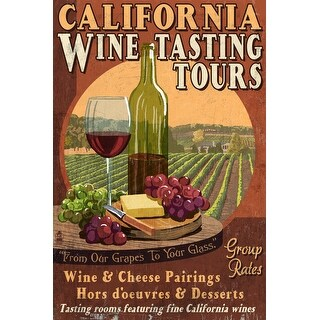 CA - Wine Vintage Sign - LP Artwork (100% Cotton Towel Absorbent)