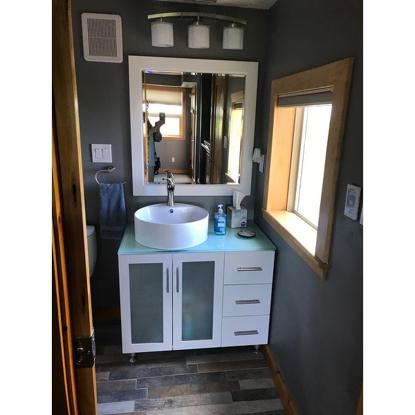 Vinnova Tuscany 36 Inch Single White Vanity With White Vessel Sink, Glass  Countertop, And Mirror   Free Shipping Today   Overstock.com   17416531