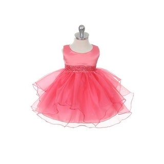 Chic Baby Coral Organza Ruffle Special Occasion Dress Baby Girl