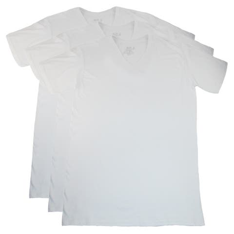 Fruit of the Loom Men's Tall Size White V Neck T Shirts (Pack of 3)