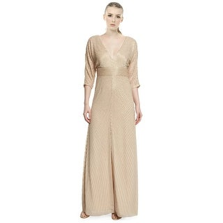 Aidan Mattox Dolman Sleeve Beaded V-Neck Evening Gown Dress