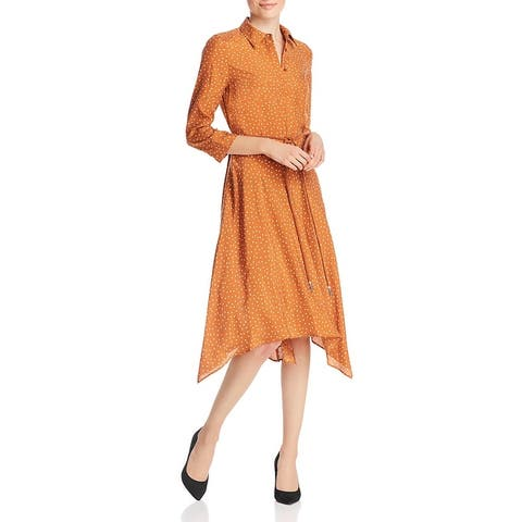 Lafayette 148 New York Womens Rizzo Shirtdress Silk Polka Dot - Straw Flower Multi