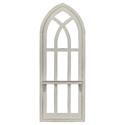 Stratton Home Decor Distressed Window Arch with Shelf Wall Decor
