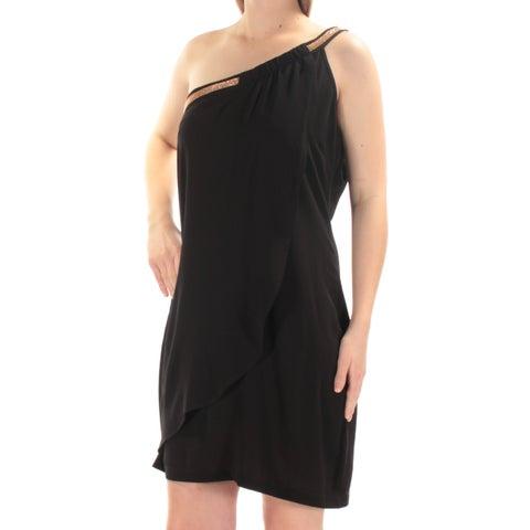 JESSICA SIMPSON Womens Black Beaded Sleeveless Asymetrical Neckline Mini Sheath Cocktail Dress Size: 10