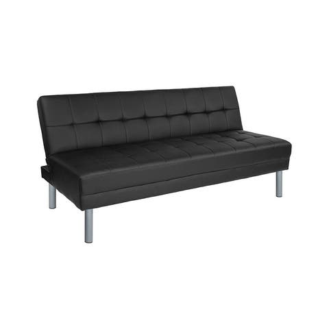 """Offex Metropolitan 67"""" Black Leather Convertible Futon Sofa Bed and Couch"""
