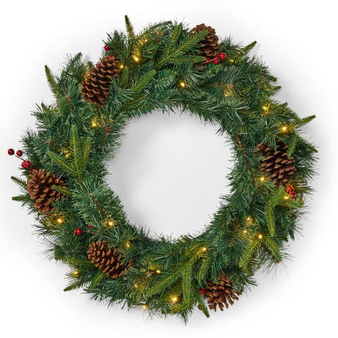 "Gaston 24"" Pine Pre-Lit White Wreath by Christopher Knight Home - Green"